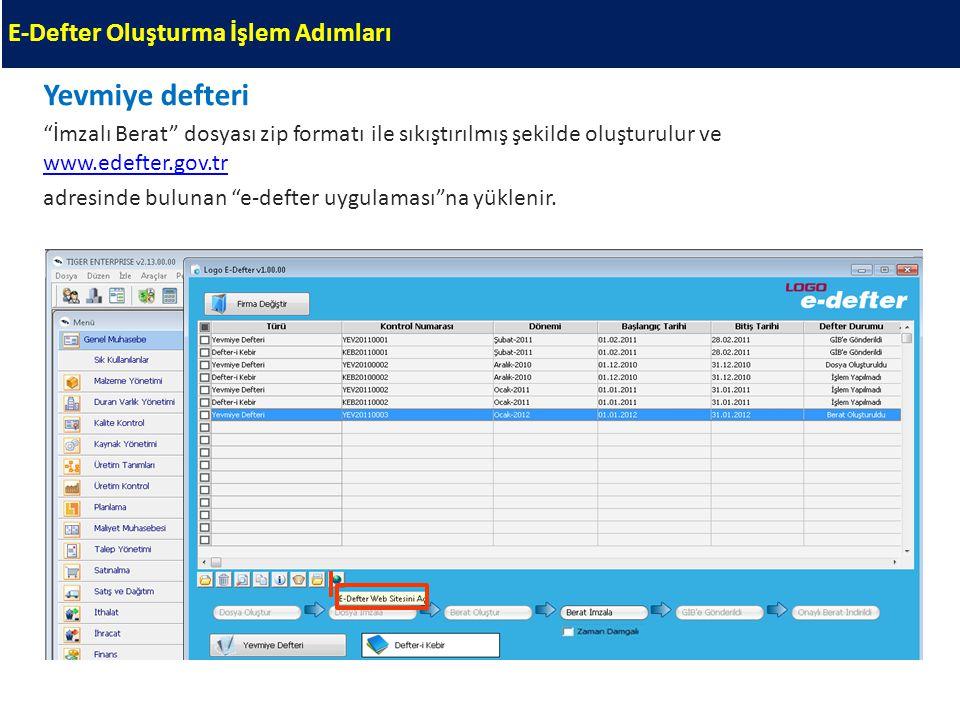 """Yevmiye defteri """"İmzalı Berat"""" dosyası zip formatı ile sıkıştırılmış şekilde oluşturulur ve www.edefter.gov.tr www.edefter.gov.tr adresinde bulunan """"e"""