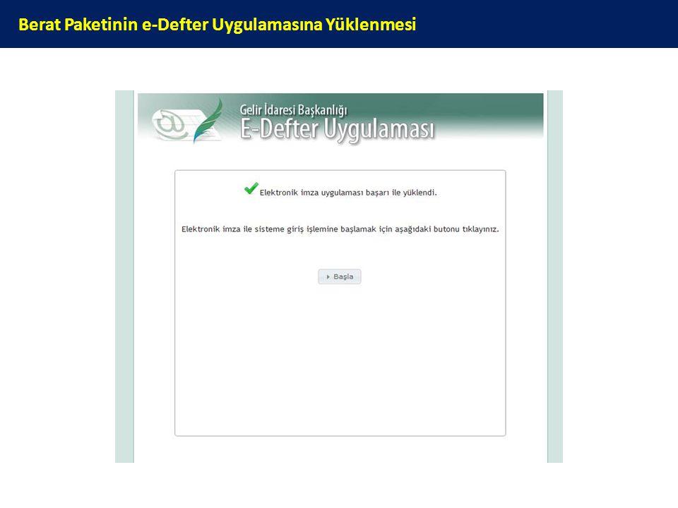 Berat Paketinin e-Defter Uygulamasına Yüklenmesi