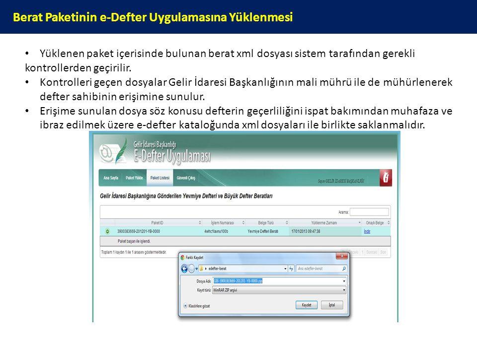 Berat Paketinin e-Defter Uygulamasına Yüklenmesi Yüklenen paket içerisinde bulunan berat xml dosyası sistem tarafından gerekli kontrollerden geçirilir