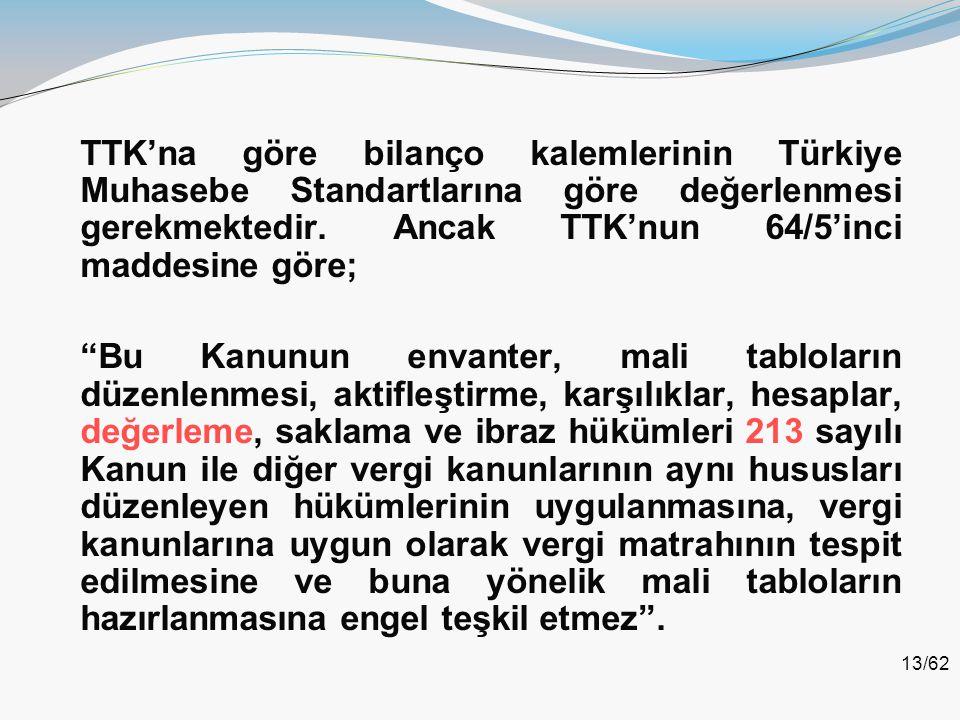 """13/62 TTK'na göre bilanço kalemlerinin Türkiye Muhasebe Standartlarına göre değerlenmesi gerekmektedir. Ancak TTK'nun 64/5'inci maddesine göre; """"Bu Ka"""