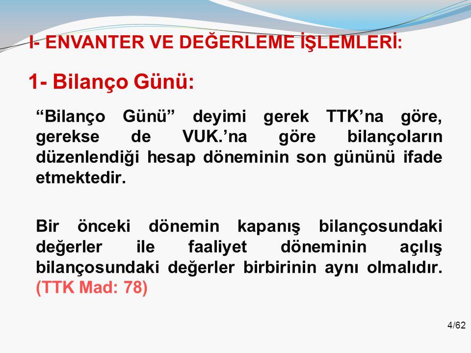 5/62 2- Envanter Tanımı: Türk Ticaret Kanunu'nun 66'ncı maddesinde her tacir, ticari işletmesinin açılışında;  taşınmazlarını,  alacaklarını,  borçlarını,  nakit parasının tutarını ve  diğer varlıklarını eksiksiz ve doğru bir şekilde gösteren ve varlıkları ile borçlarının değerlerini teker teker belirten bir envanter çıkarır.