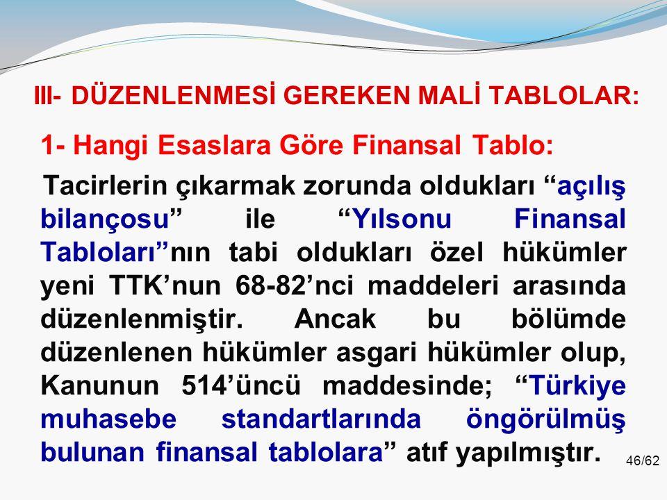 """46/62 III- DÜZENLENMESİ GEREKEN MALİ TABLOLAR: 1- Hangi Esaslara Göre Finansal Tablo: Tacirlerin çıkarmak zorunda oldukları """"açılış bilançosu"""" ile """"Yı"""