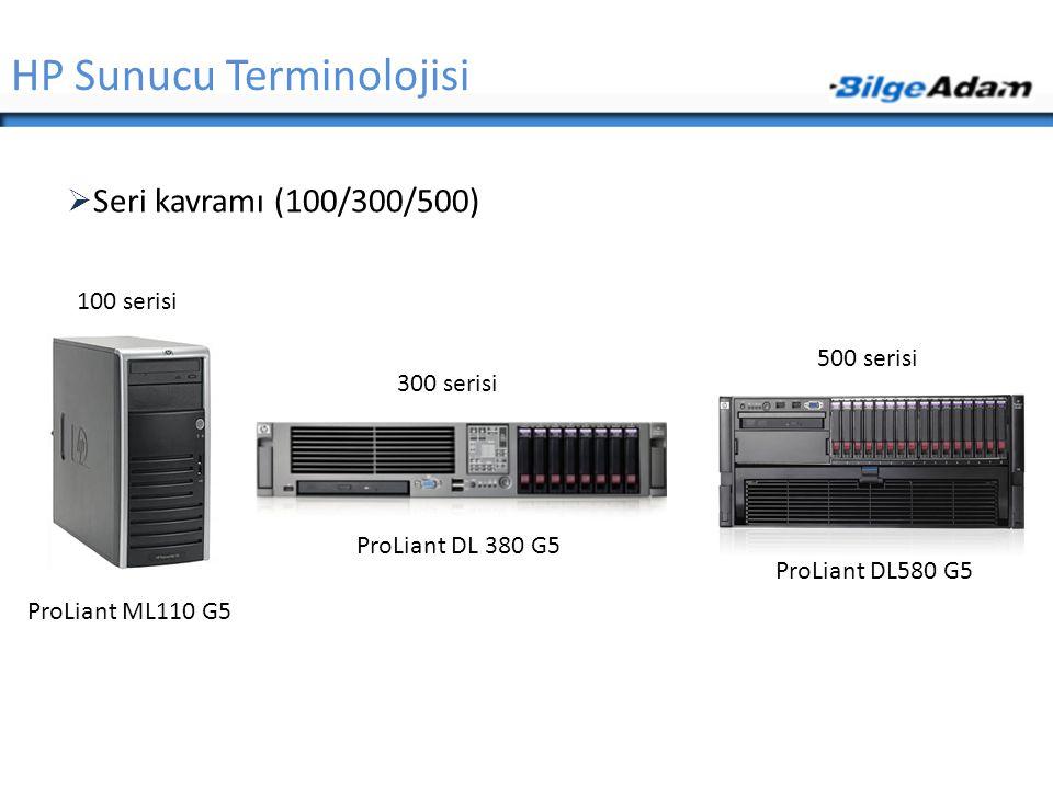 HP Sunucu Terminolojisi  Seri kavramı (100/300/500) 100 serisi 300 serisi 500 serisi ProLiant ML110 G5 ProLiant DL 380 G5 ProLiant DL580 G5