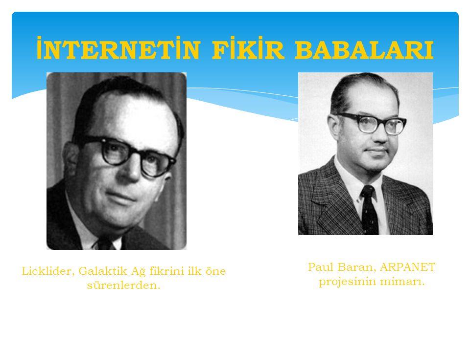 İ NTERNET İ N F İ K İ R BABALARI Licklider, Galaktik Ağ fikrini ilk öne sürenlerden. Paul Baran, ARPANET projesinin mimarı.