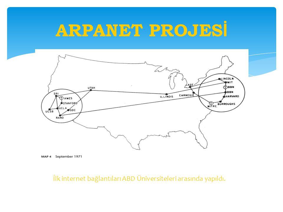 ARPANET PROJES İ İlk internet bağlantıları ABD Üniversiteleri arasında yapıldı.