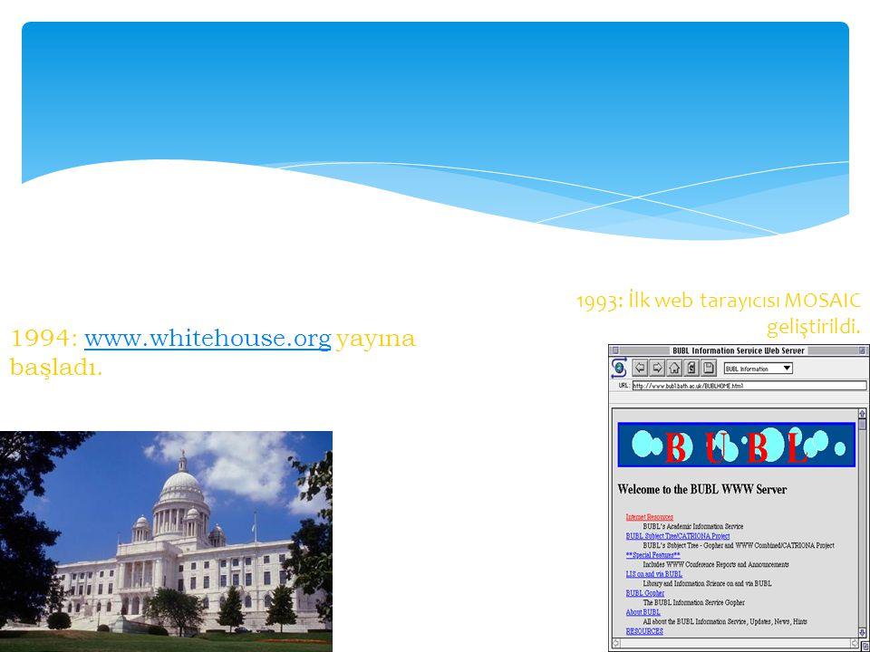 1994: www.whitehouse.org yayına başladı.www.whitehouse.org 1993: İlk web tarayıcısı MOSAIC geliştirildi.