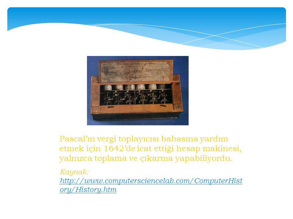 Pascal'ın vergi toplayıcısı babasına yardım etmek için 1642'de icat ettiği hesap makinesi, yalnızca toplama ve çıkarma yapabiliyordu. Kaynak: http://w