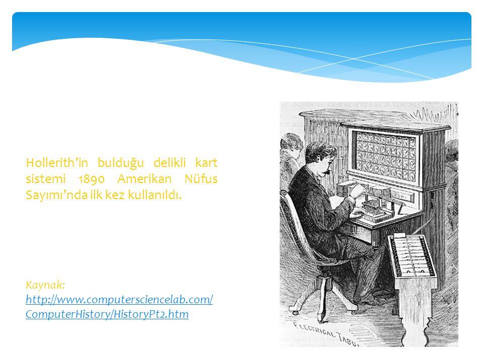 Hollerith'in bulduğu delikli kart sistemi 1890 Amerikan Nüfus Sayımı'nda ilk kez kullanıldı. Kaynak: http://www.computersciencelab.com/ ComputerHistor