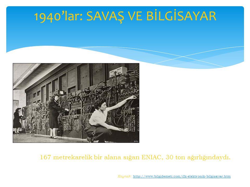 167 metrekarelik bir alana sığan ENIAC, 30 ton ağırlığındaydı. Kaynak: http://www.bilgidemeti.com/ilk-elektronik-bilgisayar.htmhttp://www.bilgidemeti.