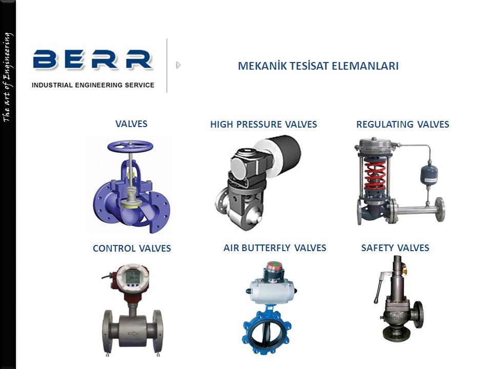 The art of Engineering MEKANİK TESİSAT ELEMANLARI VALVES HIGH PRESSURE VALVES CONTROL VALVES REGULATING VALVES AIR BUTTERFLY VALVESSAFETY VALVES