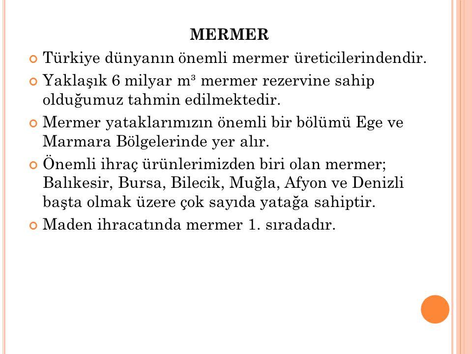 MERMER Türkiye dünyanın önemli mermer üreticilerindendir. Yaklaşık 6 milyar m³ mermer rezervine sahip olduğumuz tahmin edilmektedir. Mermer yataklarım