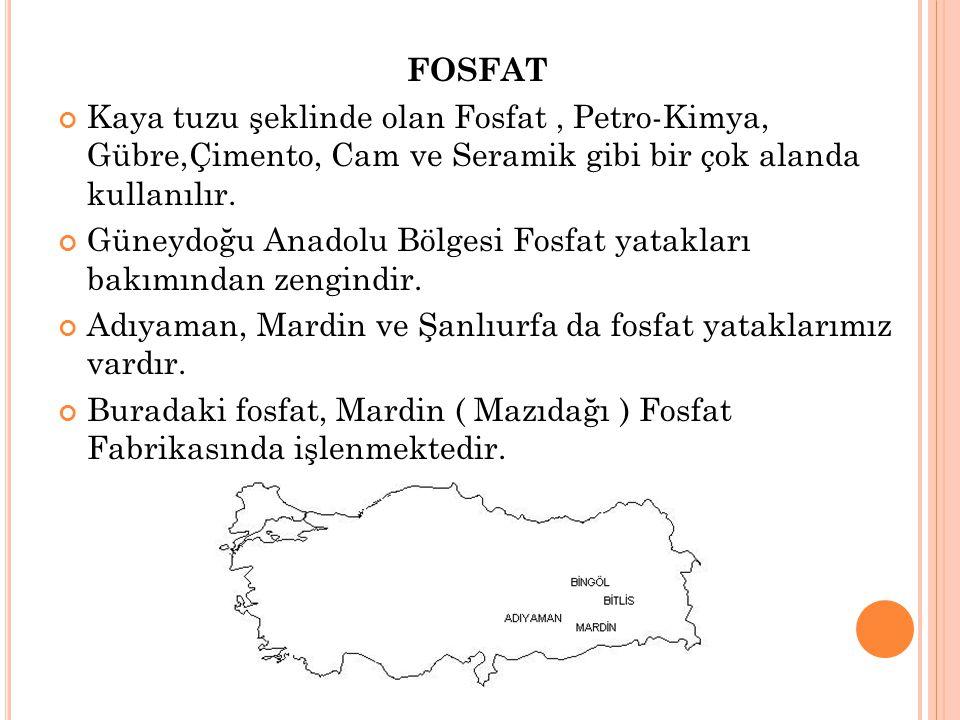 FOSFAT Kaya tuzu şeklinde olan Fosfat, Petro-Kimya, Gübre,Çimento, Cam ve Seramik gibi bir çok alanda kullanılır. Güneydoğu Anadolu Bölgesi Fosfat yat