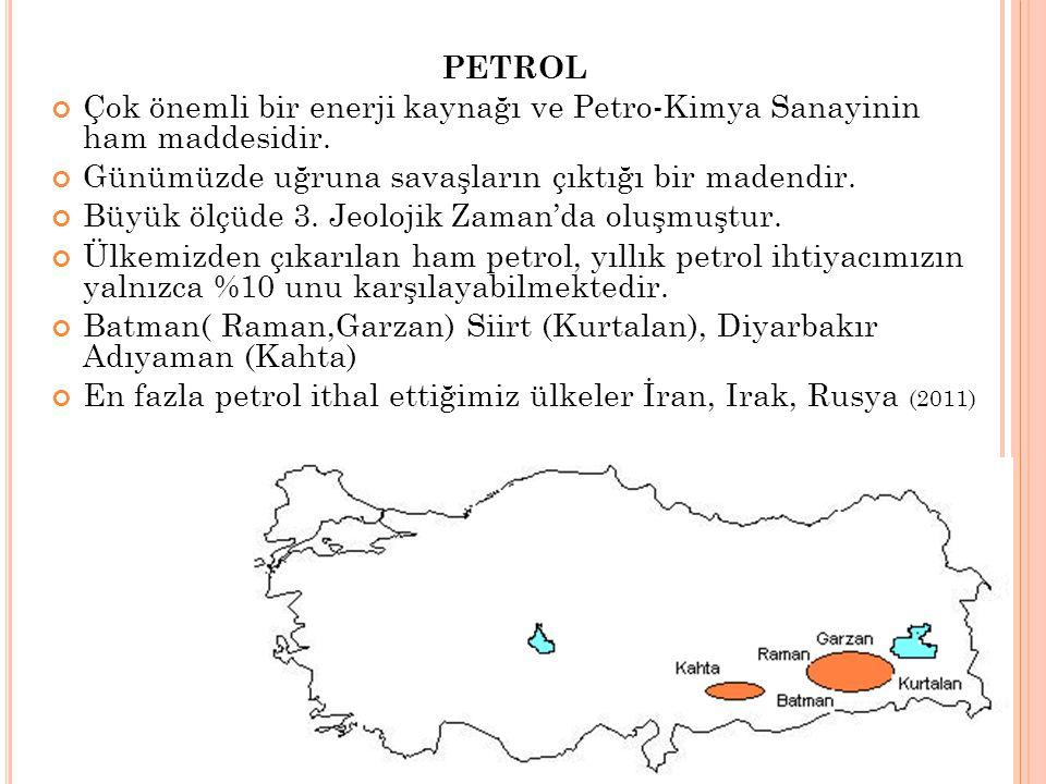 PETROL Çok önemli bir enerji kaynağı ve Petro-Kimya Sanayinin ham maddesidir. Günümüzde uğruna savaşların çıktığı bir madendir. Büyük ölçüde 3. Jeoloj
