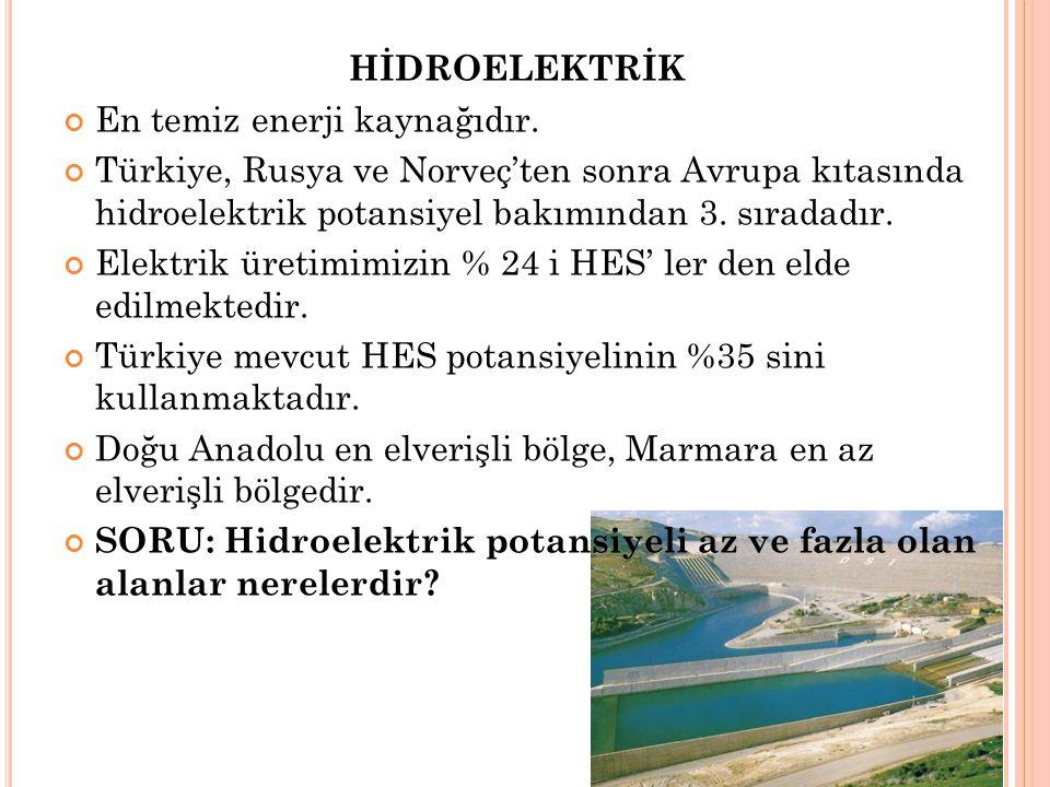 HİDROELEKTRİK En temiz enerji kaynağıdır. Türkiye, Rusya ve Norveç'ten sonra Avrupa kıtasında hidroelektrik potansiyel bakımından 3. sıradadır. Elektr