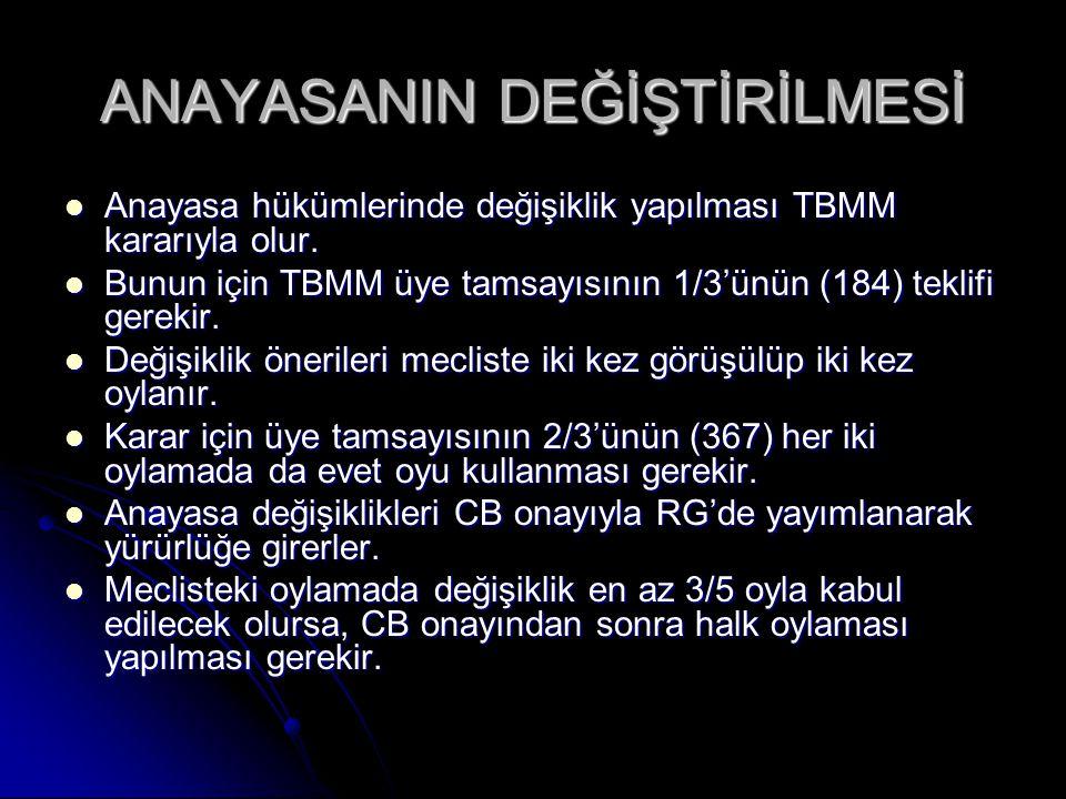 KANUNLAR Anayasanın öngördüğü temel ilkelere uygun olarak TBMM tarafından çıkarılan ve sürekli nitelikteki düzenlemelerdir.