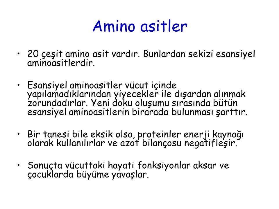 Amino asitler 20 çeşit amino asit vardır. Bunlardan sekizi esansiyel aminoasitlerdir. Esansiyel aminoasitler vücut içinde yapılamadıklarından yiyecekl