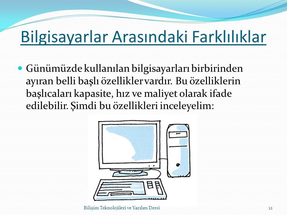 Bilgisayarlar Arasındaki Farklılıklar Günümüzde kullanılan bilgisayarları birbirinden ayıran belli başlı özellikler vardır.
