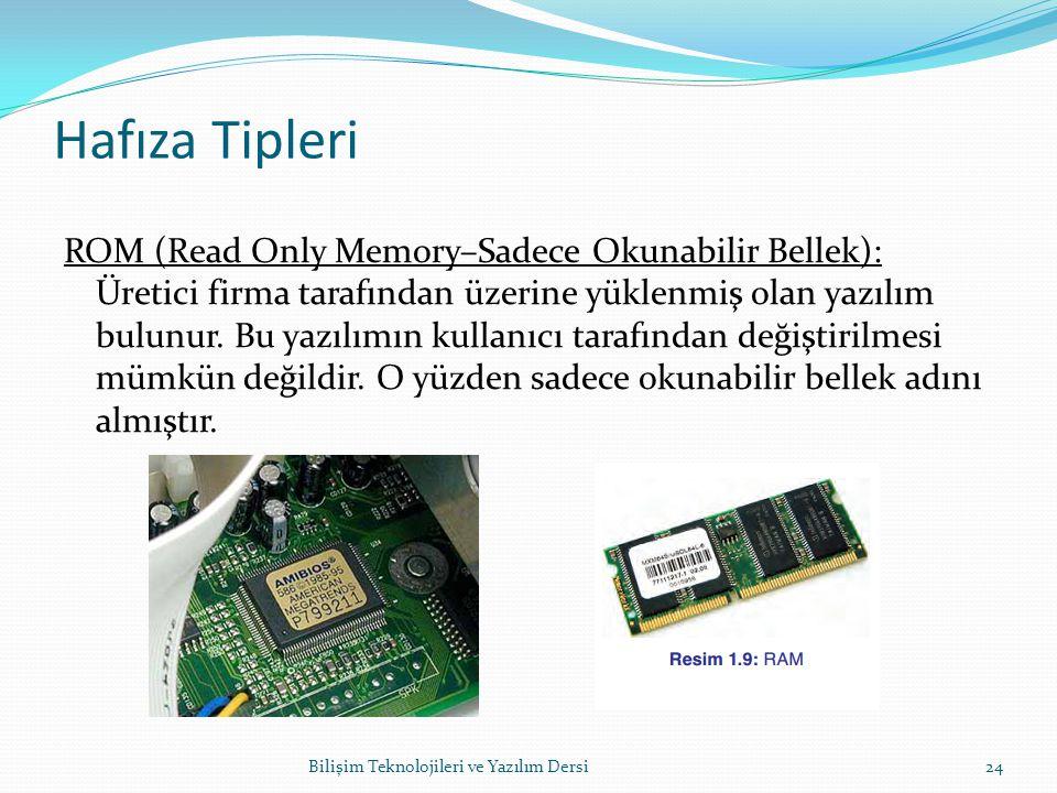 Hafıza Tipleri ROM (Read Only Memory–Sadece Okunabilir Bellek): Üretici firma tarafından üzerine yüklenmiş olan yazılım bulunur.