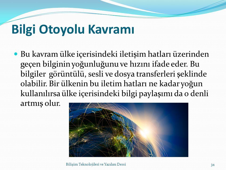 Bilgi Otoyolu Kavramı Bu kavram ülke içerisindeki iletişim hatları üzerinden geçen bilginin yoğunluğunu ve hızını ifade eder.