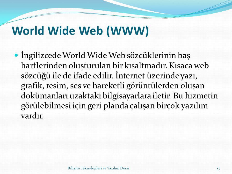 World Wide Web (WWW) İngilizcede World Wide Web sözcüklerinin baş harflerinden oluşturulan bir kısaltmadır.