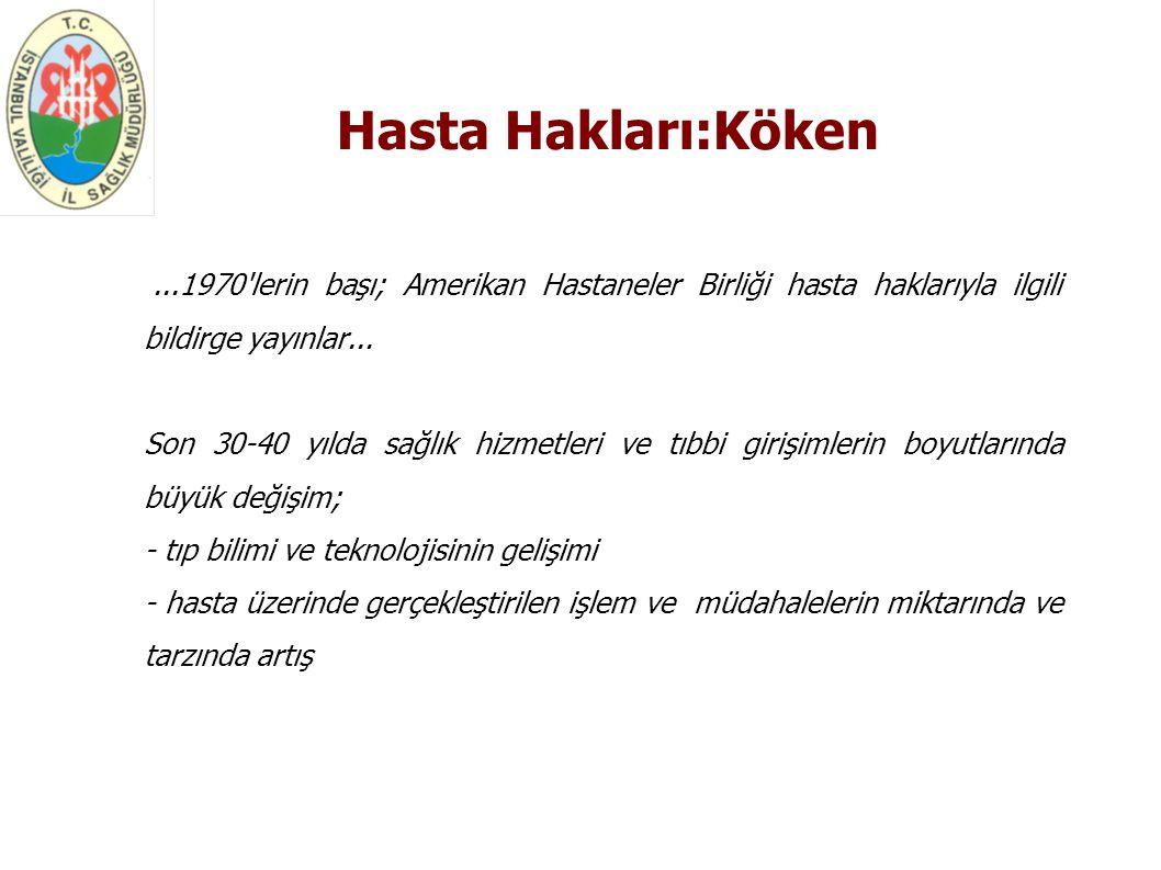 Temel Hasta Hakları - Tıbbi Bakım Hakkı - Bilgilendirilme Hakkı - Rıza (Onay) Hakkı - Mahremiyet Hakkı - Başvuru Hakkı