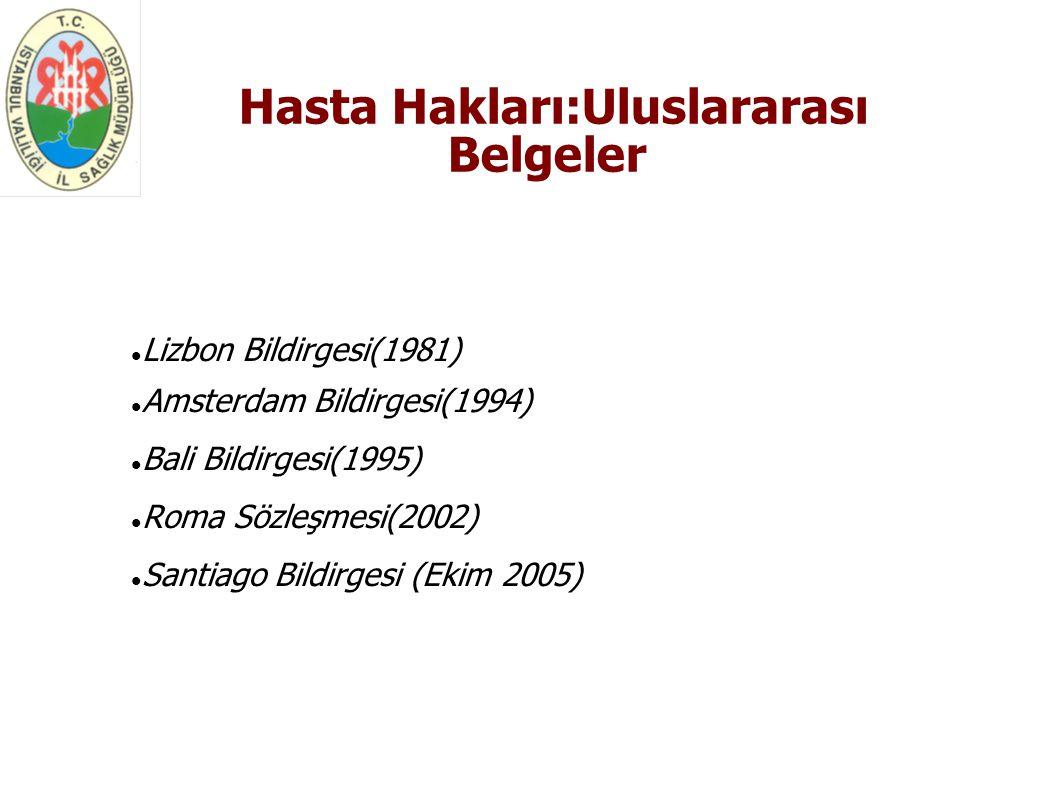 Hasta Hakları:Uluslararası Belgeler Lizbon Bildirgesi(1981) Amsterdam Bildirgesi(1994) Bali Bildirgesi(1995) Roma Sözleşmesi(2002) Santiago Bildir