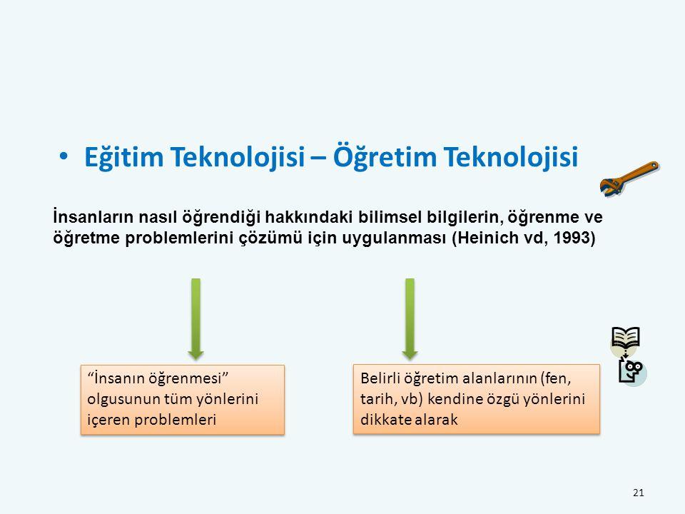 Eğitim Teknolojisi – Öğretim Teknolojisi 21 İnsanların nasıl öğrendiği hakkındaki bilimsel bilgilerin, öğrenme ve öğretme problemlerini çözümü için uygulanması (Heinich vd, 1993) İnsanın öğrenmesi olgusunun tüm yönlerini içeren problemleri Belirli öğretim alanlarının (fen, tarih, vb) kendine özgü yönlerini dikkate alarak