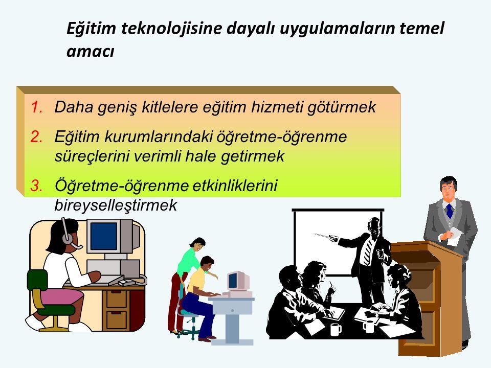 1.Daha geniş kitlelere eğitim hizmeti götürmek 2.Eğitim kurumlarındaki öğretme-öğrenme süreçlerini verimli hale getirmek 3.Öğretme-öğrenme etkinliklerini bireyselleştirmek Eğitim teknolojisine dayalı uygulamaların temel amacı