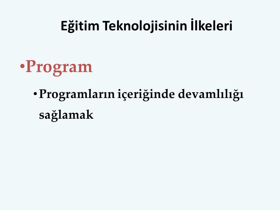 Eğitim Teknolojisinin İlkeleri Program Programların içeriğinde devamlılığı sağlamak