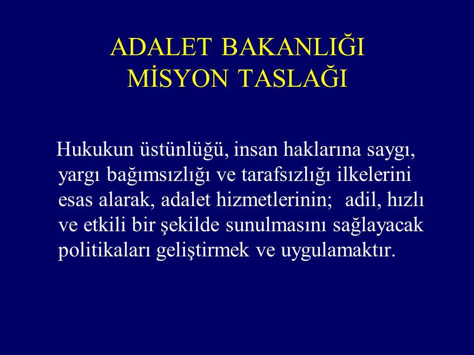 ADALET BAKANLIĞI MİSYON TASLAĞI Hukukun üstünlüğü, insan haklarına saygı, yargı bağımsızlığı ve tarafsızlığı ilkelerini esas alarak, adalet hizmetleri
