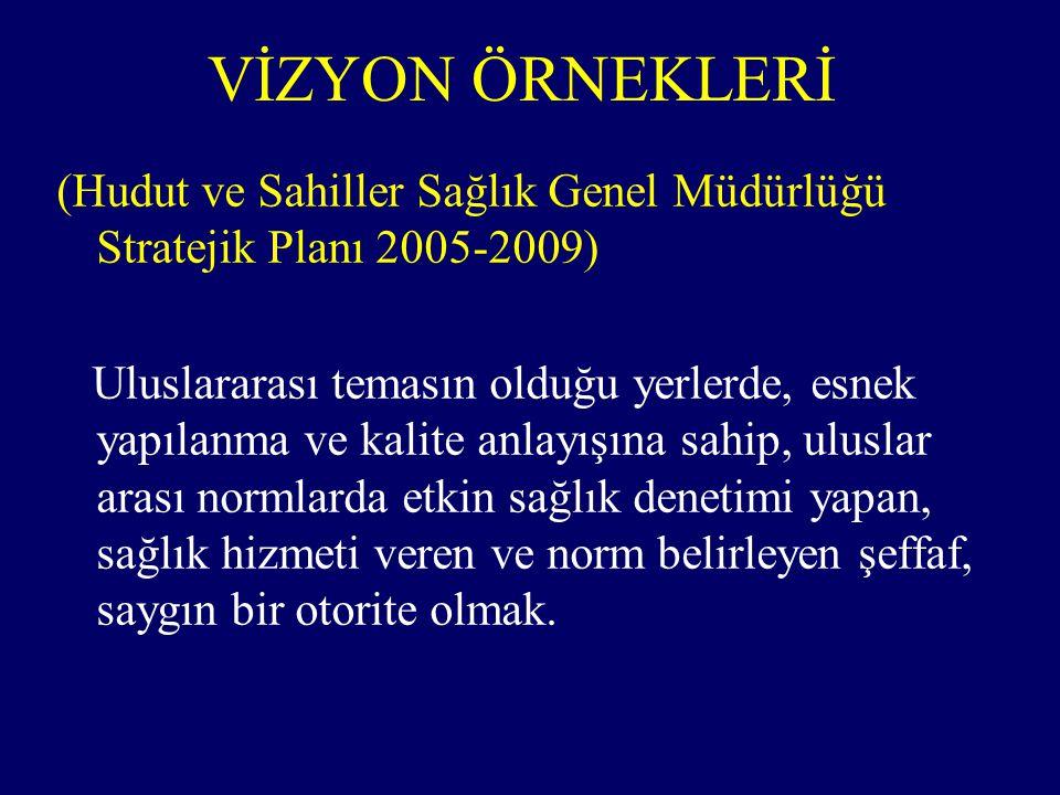VİZYON ÖRNEKLERİ (Hudut ve Sahiller Sağlık Genel Müdürlüğü Stratejik Planı 2005-2009) Uluslararası temasın olduğu yerlerde, esnek yapılanma ve kalite