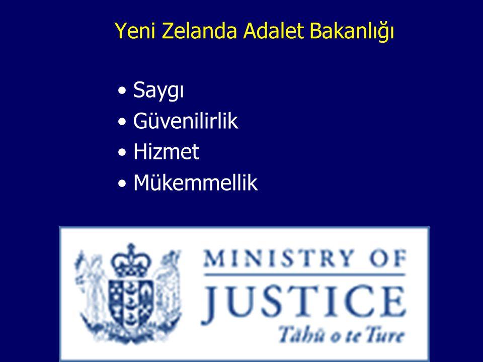 Yeni Zelanda Adalet Bakanlığı Saygı Güvenilirlik Hizmet Mükemmellik