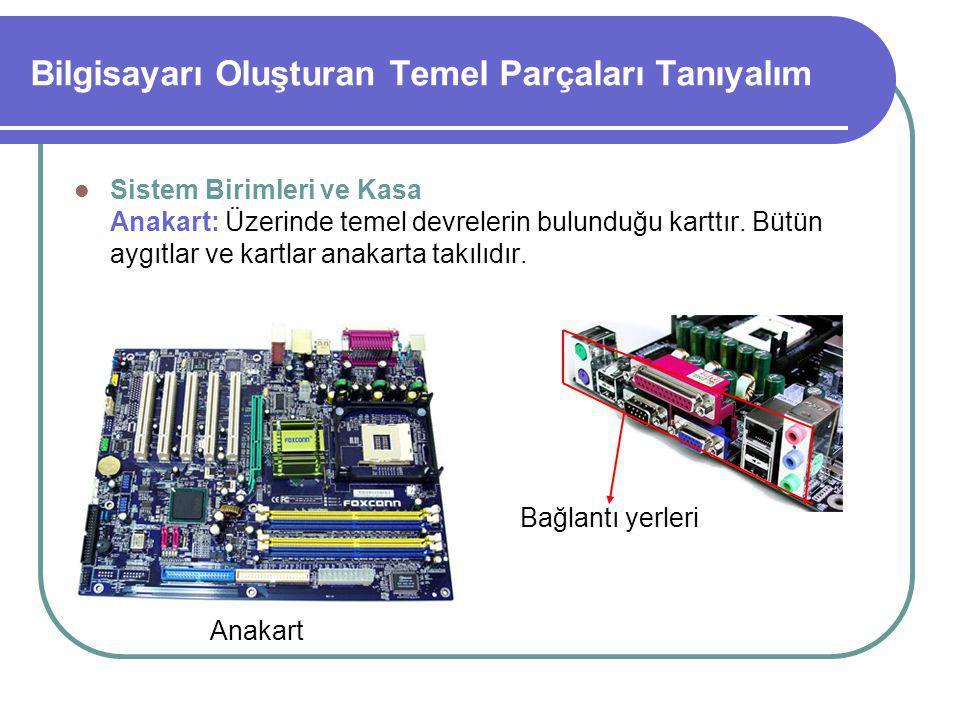 Bilgisayarı Oluşturan Temel Parçaları Tanıyalım Sistem Birimleri ve Kasa Anakart: Üzerinde temel devrelerin bulunduğu karttır.