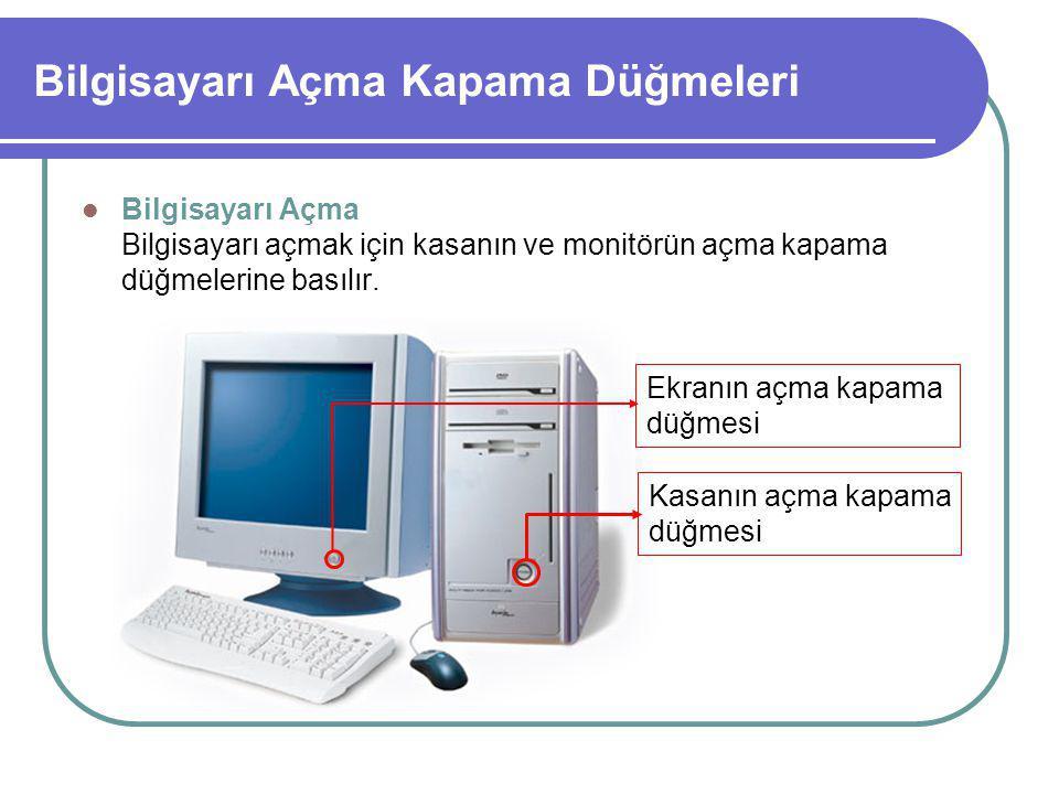 Bilgisayarı Açma Kapama Düğmeleri Bilgisayarı Açma Bilgisayarı açmak için kasanın ve monitörün açma kapama düğmelerine basılır.