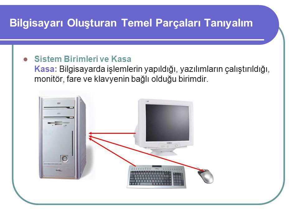Bilgisayarı Oluşturan Temel Parçaları Tanıyalım Sistem Birimleri ve Kasa Kasanın içerisinde anakart, işlemci, ana bellek, ekran kartı, sabitdisk gibi birçok parça bulunur.