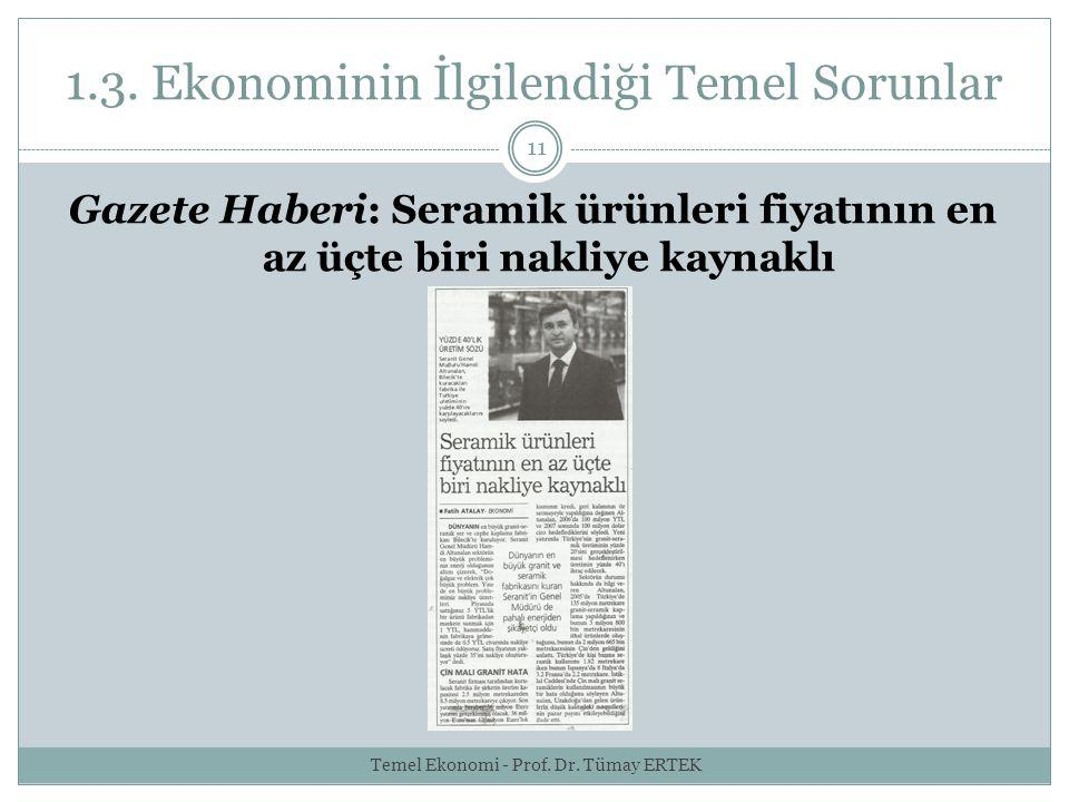 1.3. Ekonominin İlgilendiği Temel Sorunlar 11 Gazete Haberi: Seramik ürünleri fiyatının en az üçte biri nakliye kaynaklı Temel Ekonomi - Prof. Dr. Tüm