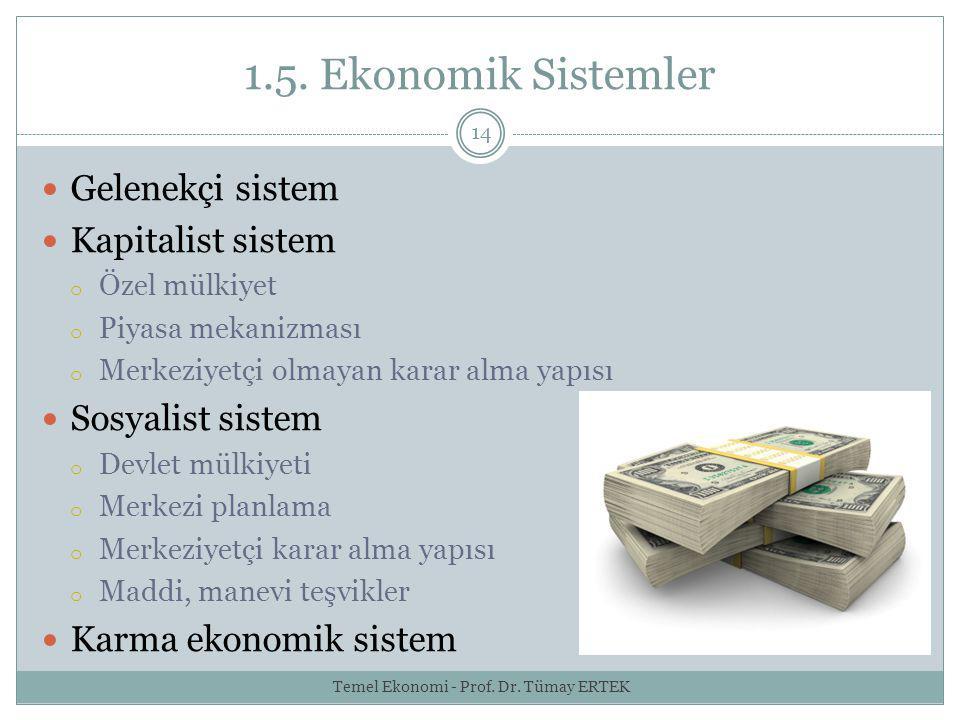 1.5. Ekonomik Sistemler 14 Gelenekçi sistem Kapitalist sistem o Özel mülkiyet o Piyasa mekanizması o Merkeziyetçi olmayan karar alma yapısı Sosyalist