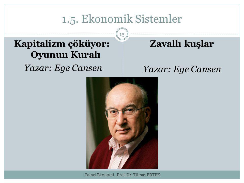 1.5. Ekonomik Sistemler 15 Kapitalizm çöküyor: Oyunun Kuralı Yazar: Ege Cansen Zavallı kuşlar Yazar: Ege Cansen Temel Ekonomi - Prof. Dr. Tümay ERTEK