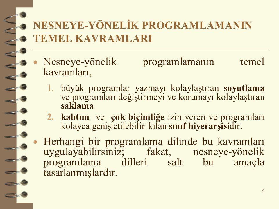 NESNEYE-YÖNELİK PROGRAMLAMANIN TEMEL KAVRAMLARI  Nesneye-yönelik programlamanın temel kavramları, 1.büyük programlar yazmayı kolaylaştıran soyutlama