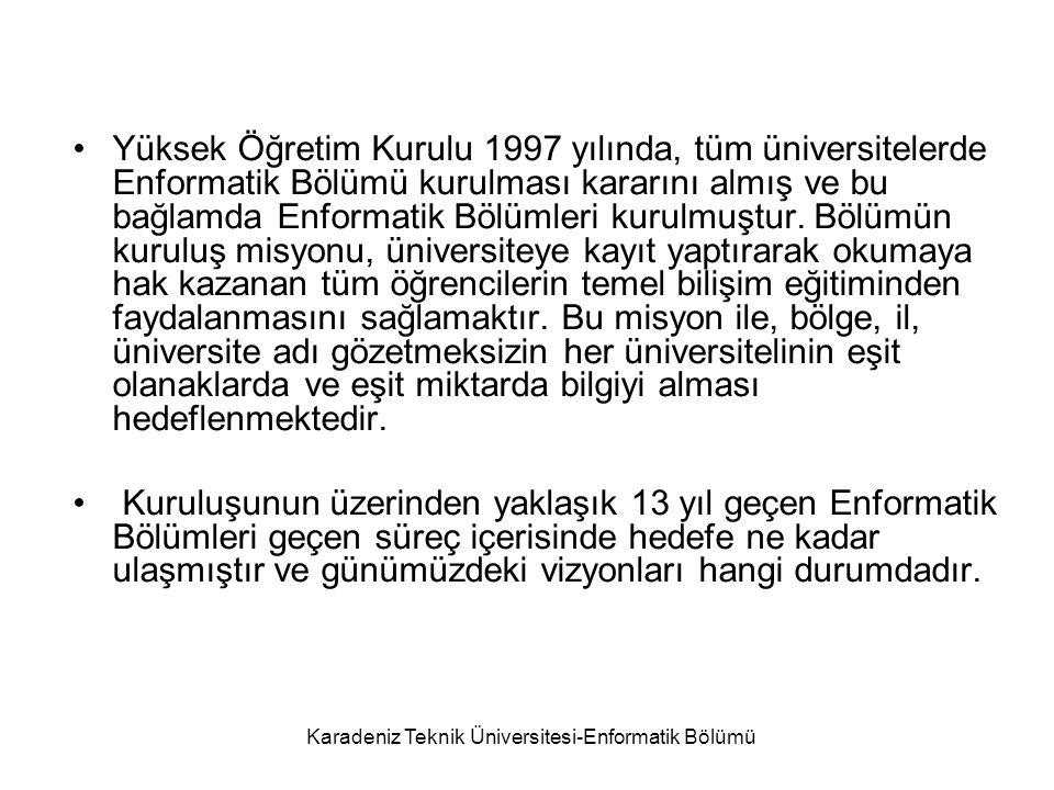 Karadeniz Teknik Üniversitesi-Enformatik Bölümü Yüksek Öğretim Kurulu 1997 yılında, tüm üniversitelerde Enformatik Bölümü kurulması kararını almış ve bu bağlamda Enformatik Bölümleri kurulmuştur.