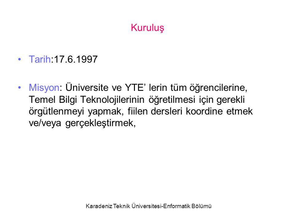 Karadeniz Teknik Üniversitesi-Enformatik Bölümü Kuruluş Tarih:17.6.1997 Misyon: Üniversite ve YTE' lerin tüm öğrencilerine, Temel Bilgi Teknolojilerinin öğretilmesi için gerekli örgütlenmeyi yapmak, fiilen dersleri koordine etmek ve/veya gerçekleştirmek,