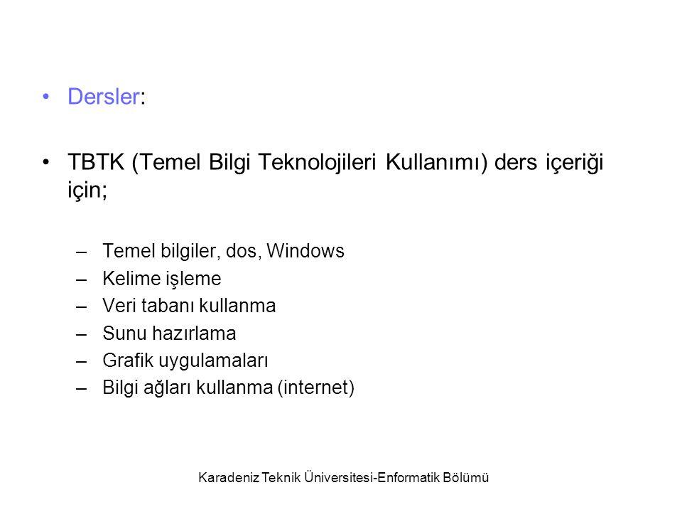 Karadeniz Teknik Üniversitesi-Enformatik Bölümü Dersler: TBTK (Temel Bilgi Teknolojileri Kullanımı) ders içeriği için; – Temel bilgiler, dos, Windows – Kelime işleme – Veri tabanı kullanma – Sunu hazırlama – Grafik uygulamaları – Bilgi ağları kullanma (internet)
