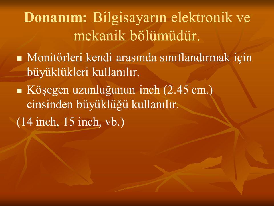 Donanım: Bilgisayarın elektronik ve mekanik bölümüdür. Monitörleri kendi arasında sınıflandırmak için büyüklükleri kullanılır. Köşegen uzunluğunun inc