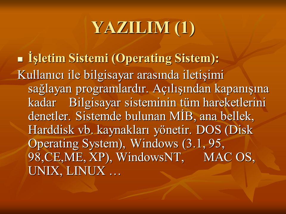 YAZILIM (1) İşletim Sistemi (Operating Sistem): İşletim Sistemi (Operating Sistem): Kullanıcı ile bilgisayar arasında iletişimi sağlayan programlardır