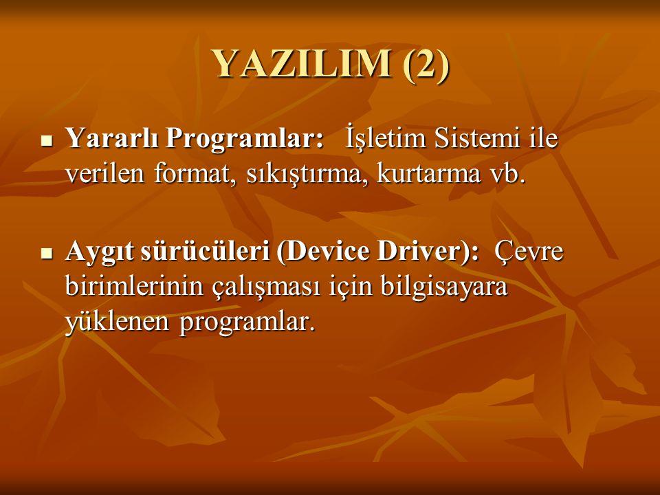 YAZILIM (2) Yararlı Programlar: İşletim Sistemi ile verilen format, sıkıştırma, kurtarma vb. Yararlı Programlar: İşletim Sistemi ile verilen format, s