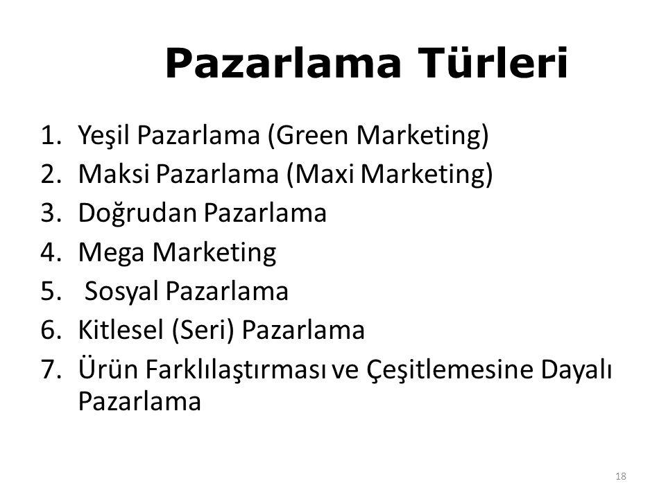 Pazarlama Türleri 1.Yeşil Pazarlama (Green Marketing) 2.Maksi Pazarlama (Maxi Marketing) 3.Doğrudan Pazarlama 4.Mega Marketing 5.