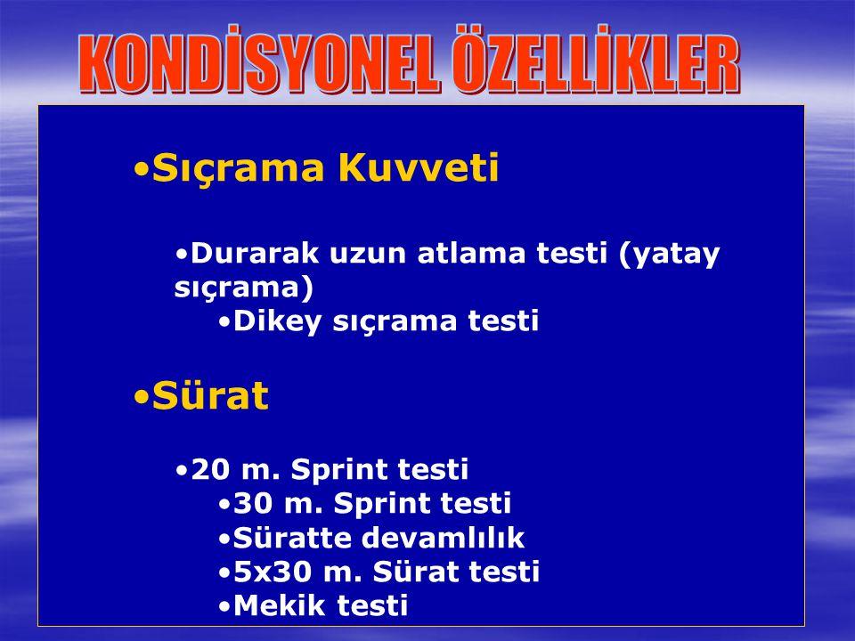 Sıçrama Kuvveti Durarak uzun atlama testi (yatay sıçrama) Dikey sıçrama testi Sürat 20 m. Sprint testi 30 m. Sprint testi Süratte devamlılık 5x30 m. S