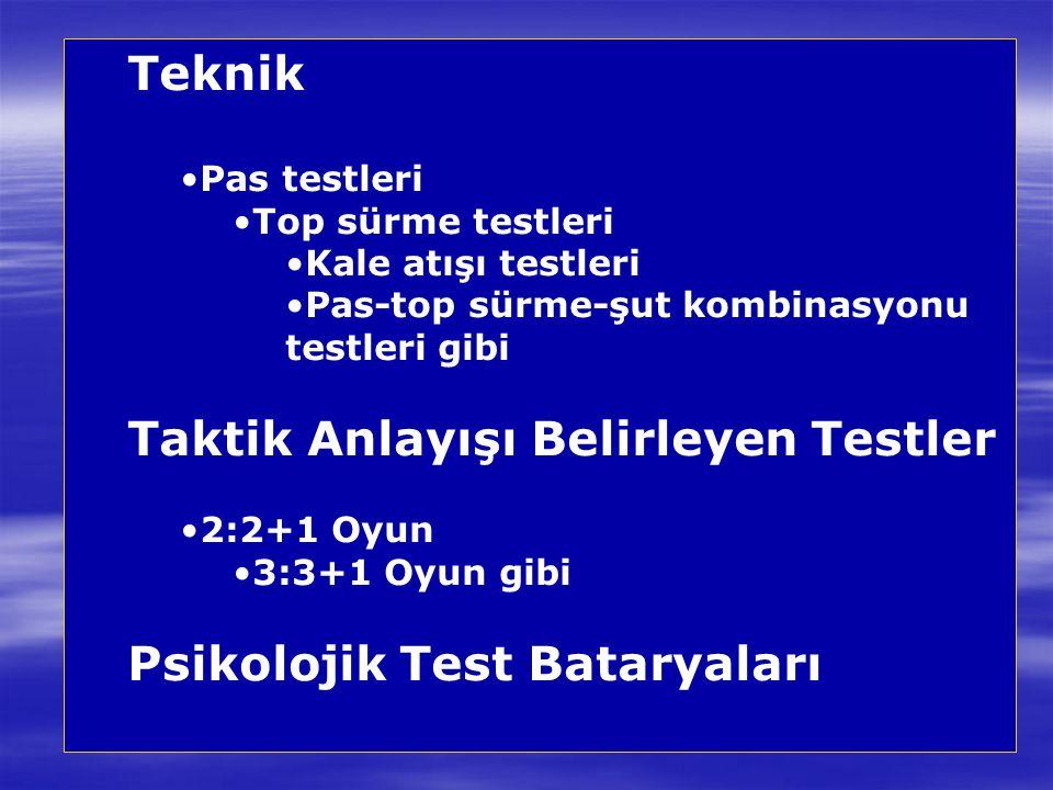 Teknik Pas testleri Top sürme testleri Kale atışı testleri Pas-top sürme-şut kombinasyonu testleri gibi Taktik Anlayışı Belirleyen Testler 2:2+1 Oyun