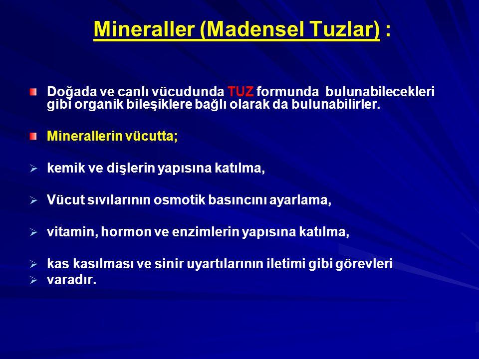 Mineraller (Madensel Tuzlar) : Doğada ve canlı vücudunda TUZ formunda bulunabilecekleri gibi organik bileşiklere bağlı olarak da bulunabilirler. Miner