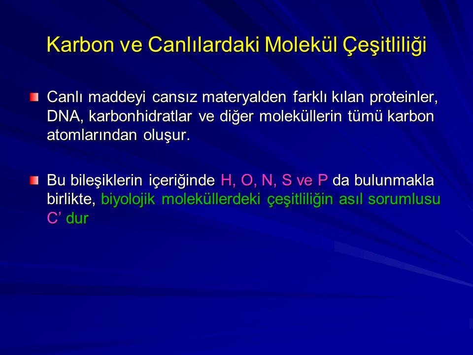 Karbon ve Canlılardaki Molekül Çeşitliliği Canlı maddeyi cansız materyalden farklı kılan proteinler, DNA, karbonhidratlar ve diğer moleküllerin tümü k